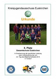 Urkunde Mädchenfußballturnier in Tondorf